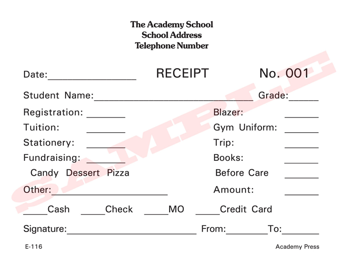 Academy Press School Forms Business Forms – Standard Receipt Format